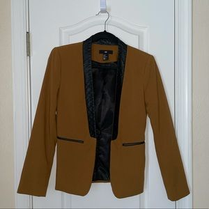 H&M Brown and Black Faux Leather Blazer